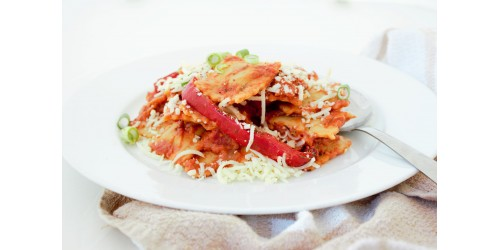 Ravioli au poulet sauce rosée